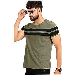 AELO Men's Cotton T Shirt-(Aelotshirt1020ol-M_Olive_Medium)