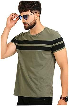 AELO Men's Cotton T Shirt-(Aelotshirt1020ol-S_Olive_Small)
