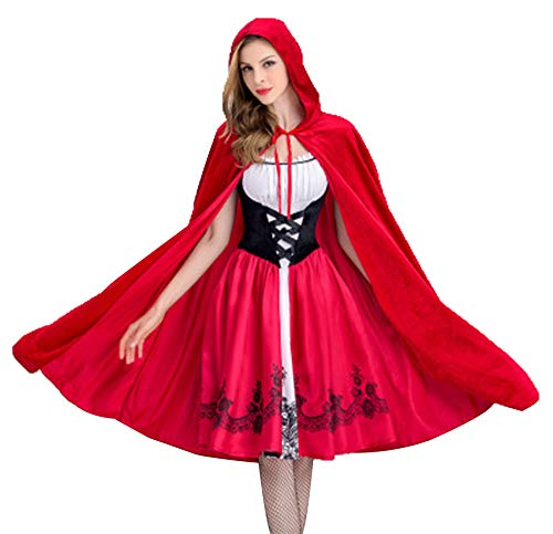 Freitop Halloween Kostüm Rotkäppchen Damen mit Umhang Cape Little Red Riding Hood Rollenspiel Kostüm Kleid Set mit Kapuze Abendkleid für Damen Mädchen Kinder Cosplay Party Club Karneval Halloween - Red Riding Hood Kostüm Accessoires