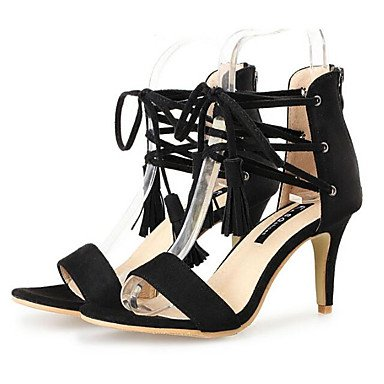 Lvyuan-ggx Womens Heels Confortable Nubuck Cuir Été Casual Confortable Noir Tissu Amande 7.5 - 9.5 Cm D'amande