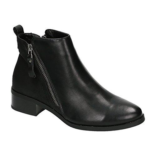 Damen Chelsea Boots Stiefeletten Stiefel Ankle Boots Leder Optik Reißverschluss Schwarz