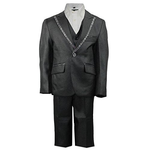 Tuxedo 4 Stück Kostüm (Kids Jungen Seite 3Stück schwarz glänzende Smoking Anzug mit Weste Hochzeit Party Formale Alter 2-12Jahre,)