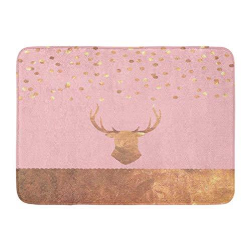 Antik-gold-teppich (LIS HOME Fußmatten Bad Teppiche Outdoor/Indoor Fußmatte Pink Christmas Rose Gold Konfetti Hirsch Kupfer Alt Antik Geweih Badezimmer Dekor Teppich Badematte)