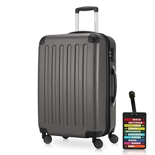 Hauptstadtkoffer - Spree Hartschalen-Koffer Koffer Trolley Rollkoffer Reisekoffer Erweiterbar, 4 Rollen, TSA, 65 cm, 74 Liter, Graphit inkl. Design Kofferanhänger
