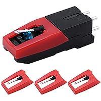 DXLing 4 Unidades Cartuchos de Vinilo Reemplazo Cartucho para Reproductor de Discos Universal con Agujas de Recambio para Tocadiscos Reproductor de Grabación de Fonógrafos de Discos de Vinilo