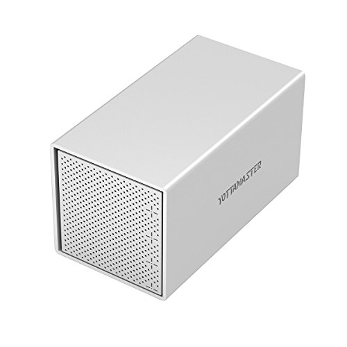 Yottamaster Aluminiumlegierung 4 Bay 3.5 Zoll USB3.1 Typ C RAID Externe Festplatte Gehäuse SATA3.0 Unterstützung 4x10TB & UASP -Silber -