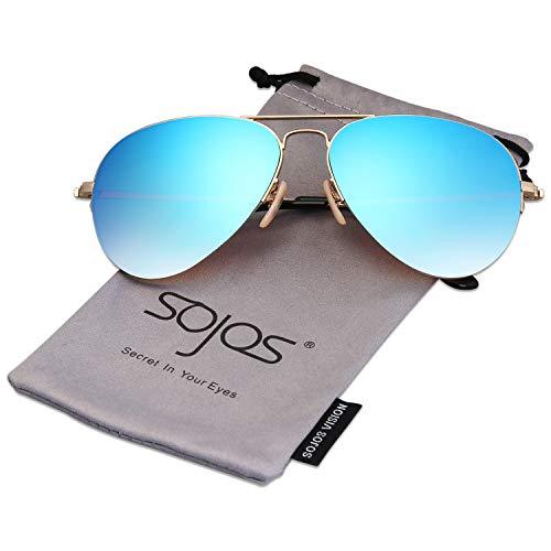 SOJOS Herren Damen Sonnenbrille Zwei Brücken Klassisch SJ1106 mit Gold Rahmen/Blau verspiegelte Linse