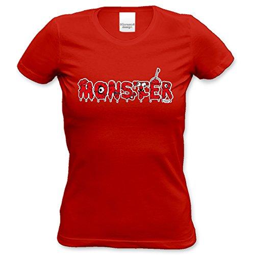 Damen-Mädchen-Halloween-Kostüm-Girlie-Fun-T-Shirt Gruselig witziges Shirt für Frauen Monster Geister Gespenster Kürbis Outfit Geschenk Idee Farbe: rot Rot