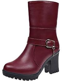 Logobeing Tacones Mujer Plataforma Zapatos Botines de Tacon Mujer Invierno Cómodo Moda 2018 Botas Altos Cuña Zapatos de Tacón Mujer-07044