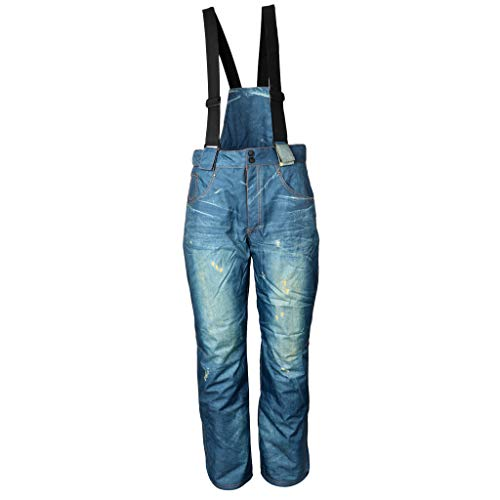 T TOOYFUL Winter Schnee Baumwolle Warme Arbeit Latzhose Thermo Jeans Salopettes Skihose - 2XL