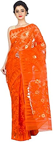 T.J. SAREES Women's Jamdani Muslin Saree With Blouse Piece (Orangedhakai_Ora