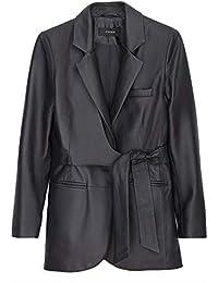 dfba946cec97 Uterque Women's Leather Blazer with tie Belt 0631/550 Blue