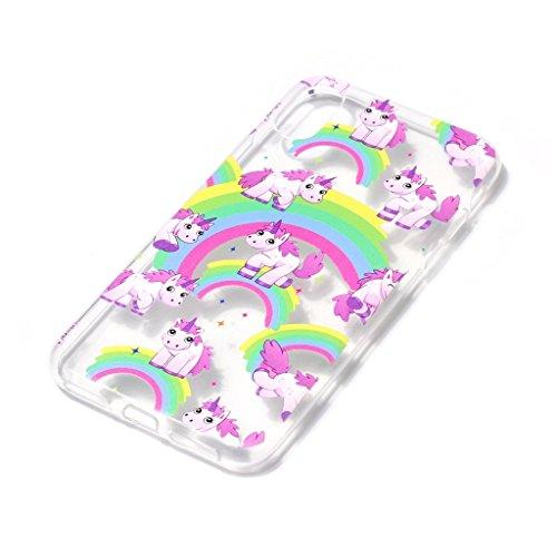Custodia Cover Per Apple iPhone X , WenJie Fiori di farfalla Trasparente Silicone Sottile Back Case Molle di TPU Trasparente per Apple iPhone X XY16