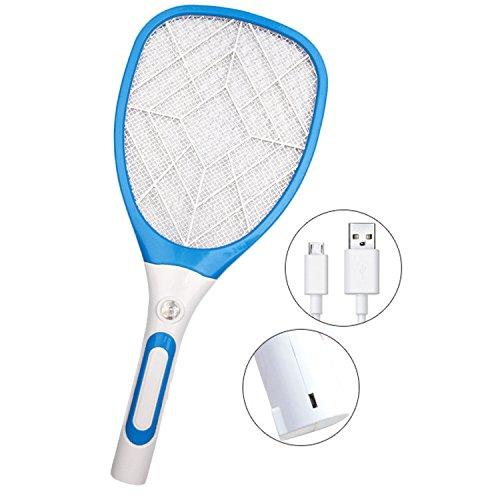 Foto de USB Recargable Raqueta Mosquitos, Gosear 3 Capas Grid Multi-función USB Recargable LED Eléctrico Mosca Swatter Mosquitos insectos Raqueta Asesino Raqueta (Azul)