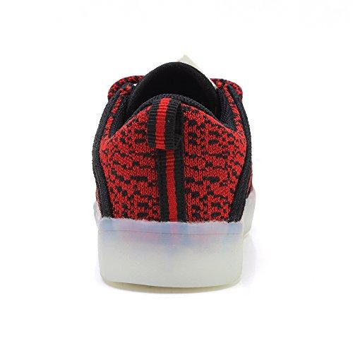 Piscando Unisex Sapatilha Malha Levou Sapatos Da Mosca Vermelha Menina 7 Luz Crianças Sapato Usb Nasonberg Cobrando Menino Brilhante Cores XIHHaUB