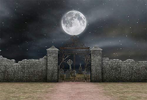 YongFoto 2,2x1,5m Vinyl Foto Hintergrund Halloween Hintergrund Sternenklare Nacht Vollmond Friedhof Friedhof Grunge Zementwand Fotografie Hintergrund Backdrop Fotostudio Hintergründe Requisiten
