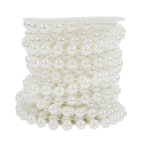 Sepkina Set Perlenband Perlenkette Perlengirlande Perlenschnur Weihnachten Advent Hochzeit Deko Tischdeko Meterware (S-P8-01-White-10m) (0,80€/m)