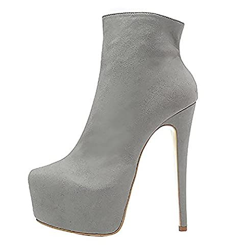 Mermaid Women's Shoes Suede Platform Ankle Boots Heel-Grey-8.5