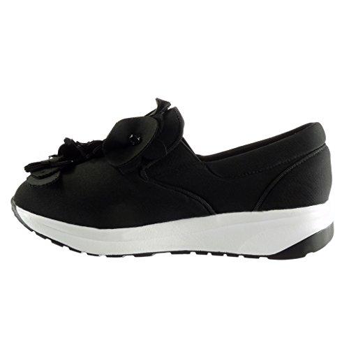 Angkorly Donna Perla Platform Scarpe Fiori Sneaker Da Shoes Slipon CaqSrCw