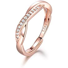 Guzhile Men Women Silver/Rose Gold 925 Sterling Silver Ring Cross Love Knot Cubic Zirconia CZ Couple/Lovers Eternity Engagement Promise Adjustable Ring Anniversary Wedding Band Rings Jewellery Gifts