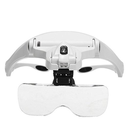 Essort - lente di ingrandimento a 5 lenti 1,0x-3,5x con supporto frontale e illuminazione led per applicazione extension ciglia