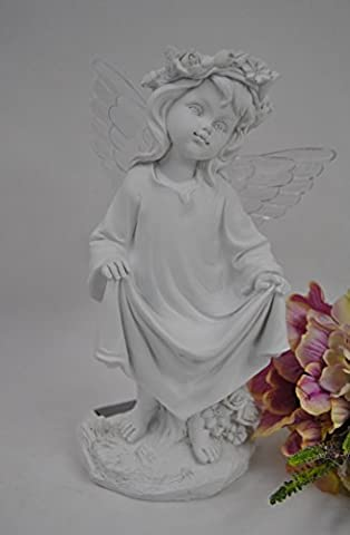 Memorial Standing White Angel Cherub With Light Up Wings,Solar Powered