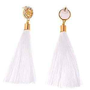 Yoli Boucles d'oreilles, Coton Main-Tricoté Long Gland Dangle Boucles d'oreilles Femmes Bijoux De Mode 100mm (Blanc)