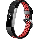 HUMENN Für Fitbit Alta HR Armband, Zwei-Farben Weich Silikon Ersatzarmband Smartwatch Sport Band für Fitbit Alta/Alta HR Herzfrequenz Fitnessaufzeichnung, Klein Schwarz/Rot
