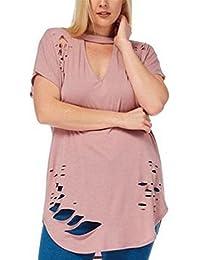 SHUNLIU Damen Sommer Mollige Oberteile Modern Kurzarm V-Ausschnitten  Einfarbig casual Blusen in Große Größen mollige tops… 64d5b260ed