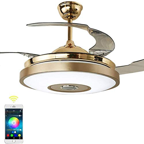 Bluetooth Audio Music Player Deckenventilator Licht, Fernbedienung 3 Farbe  Dimmbare LED Mute Indoor Deckenventilator Licht (42 Zoll)