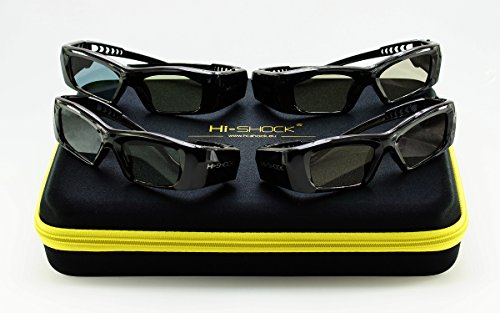 4X Hi-SHOCK 3D-BT Pro Black Diamond | Aktive 3D Brille für 4K / HD 3D TV von Samsung, Panasonic | komp. mit SSG-3570 CR, TDG-BT500A [120 Hz | Akku]