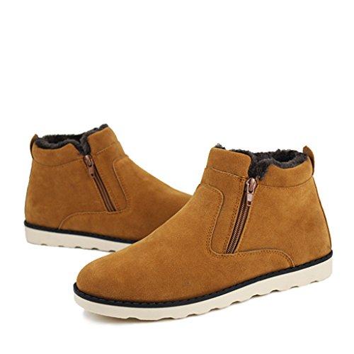 Eagsouni® Herren Warm Gefütterte Winterschuhe Stiefelette Winter Boots Stiefeletten Schneestiefel Große Größe 37-47 Braun