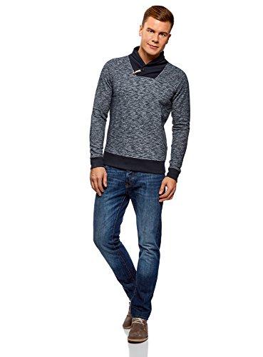 oodji Ultra Herren Jersey-Pullover mit Schalkragen Blau (7979B)