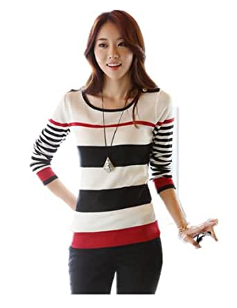 Women Long Sleeve Pullover Round Collar Stripe Sweater (L, Red) [Apparel]