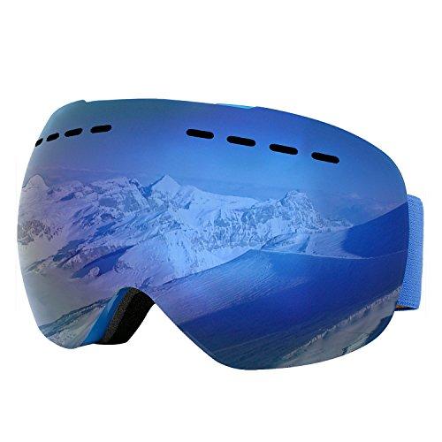 Supertrip Skibrille Herren Damen Snowboardbrille für Brillenträger Antifog 100% UV400 schutz (One Size, Blau (VLT 9,75%))