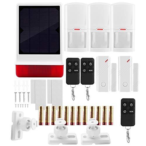 Wireless Solar Alarm System, Wasserdicht Solarbetriebene Standalone-Sound Licht Alarm mit 2 Tür Magnet 3 PIR 3 Fernbedienung