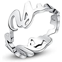 Personalisierbar mit Ihrem Namen-Namensring aus 925er Silber-Vollständige alphanumerische Ring