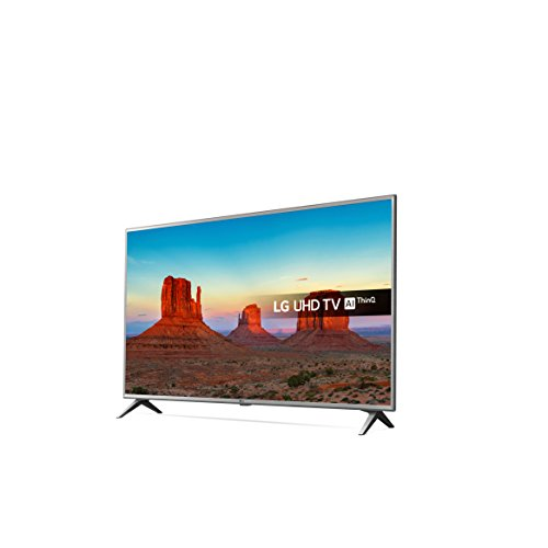 LG 65UK6500PLA 65-Inch UHD 4K HDR Smart LED TV with Freeview Play - Steel Silver Black  2018 Model  with All-new Amazon Echo  2nd generation   Charcoal Fabric Bundle