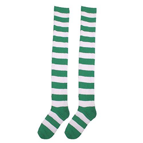 Doublehero 1 Paar Damen und Mädchen Oberschenkel hohe Socken über Knie Streifen Fußball Socken Cheerleading Socken schwarz weiß,Socken Sneaker Sportsocken Tanzen Drama (Über Knie-bein-wärmer)
