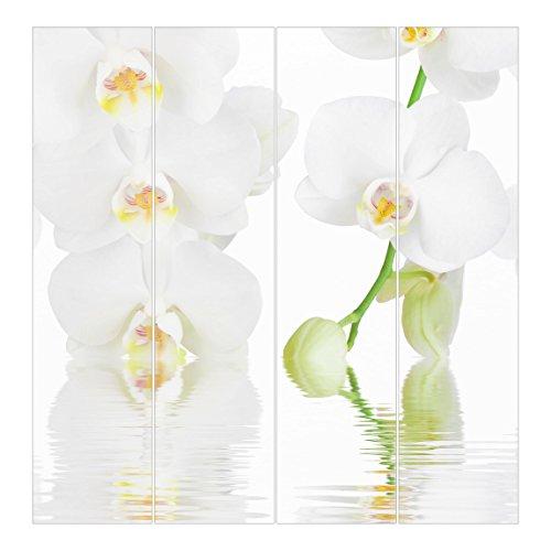 Bilderwelten Cortinas deslizables set - Wellness Orchid - 4 Paneles japoneses, cortina de panel deslizante panel cortina incl. sistema de montaje, Sistema de montaje: Montaje para techo, Tamaño: 250 x 240cm (4 paneles de 250 x 60cm)