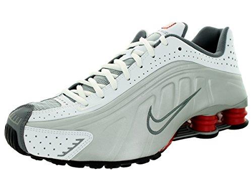 Shox R4 Bianco / mtllc SLVR / CMT Rd / BLK Shoe 9.5 Esecuzione siamo