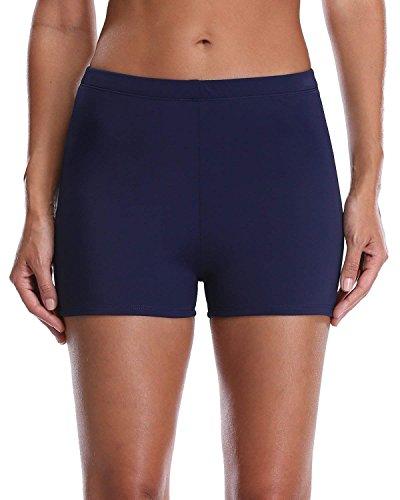 Lever Badeshorts Badehose Damen High Waist Bikinihose Schwimmhose Sport Bikini Shorts UV Schutz Bade Hotpants Navy XL UK14