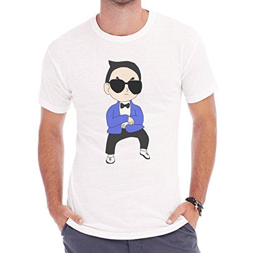 Gangnam Style Psy Dancing Drawing Herren T-Shirt Weiß