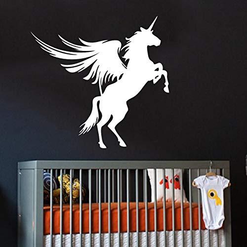 Wandtattoo Vinyl Aufkleber Einhorn Pegasus Pferd Mit Flügeln Tier Fliegen Haushaltswaren Kunst Design Wandbild Moderne Poster 59X57CM - Moderne Bögen Sammlung