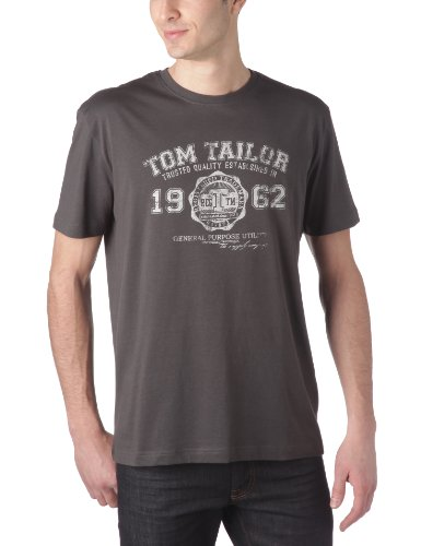 TOM TAILOR Herren T-Shirt logo tee, Gr. XXX-Large, Grau (tarmac grey 2983) (3xl T-shirt)