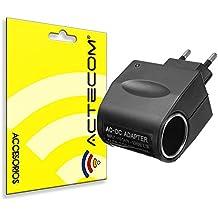 ACTECOM® Enchufe Convertidor AC 220V a DC 12V Intensidad de salida 0,5A mechero de coche a pared