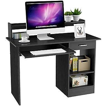 Keinode Computer Desk With2 External Shelves 1 Cupboard