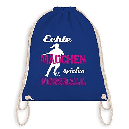 Fußball - Echte Mädchen spielen Fußball weiß - Unisize - Royalblau - WM110 - Turnbeutel & Gym Bag