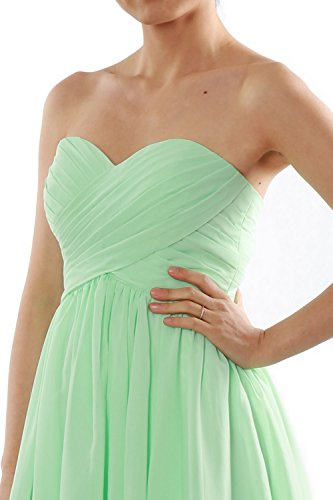 MACloth Women Short Bridesmaid Dress Strapless Chiffon Cocktail Formal Gown Weinrot