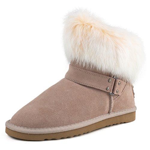 Shenduo - Bottes de neige femme cuir, Boots fourrées courtes doublure chaude D9252 Sable